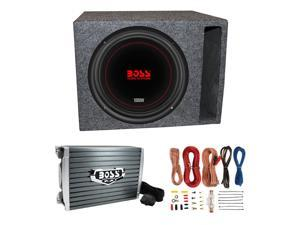 """Boss Chaos Exxtreme 10"""" 1000W 4 Ohm Subwoofer w/ Vented Box, Amplifier & Wiring"""
