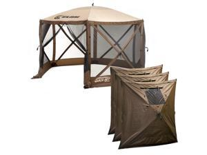 Clam Quick-Set Escape Portable Outdoor Gazebo Canopy Screen + 3 Wind Panels