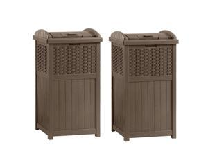Suncast GHW1732 Home Outdoor Patio Resin Wicker Trash Can Hideaway (2 Pack)