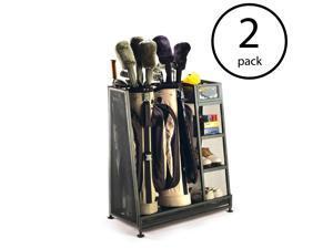 Suncast Metal Complete Golf Bag Organizer for Garage w/ Shelves & Bin (2 Pack)