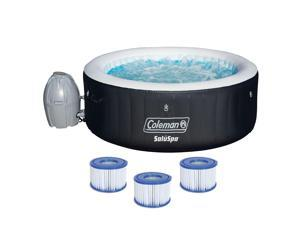 Coleman SaluSpa 4 Person Inflatable Hot Tub Spa with 3 Filter Cartridge Refills