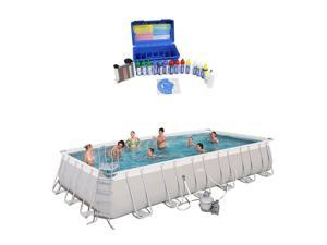 Bestway 24ft x 12ft x 52in Rectangular Frame Family Swimming Pool & Test Kit