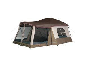 Wenzel Klondike Large Outdoor 8 Person Camping Tent with Screen Room, Brown