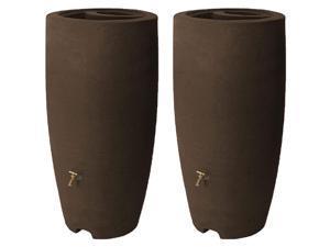 Algreen Athena 80 Gallon Rain Water Collection Drum Barrel, Brownstone (2 Pack)