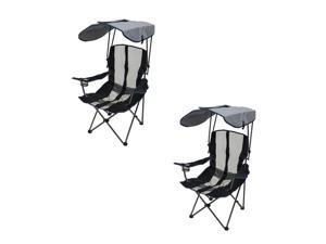 Kelsyus UPF Portable Camping Folding Lawn Chair with Canopy, Navy (2 Pack)