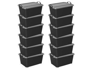 Life Story Locking Stackable Closet & Storage Box 55 Quart Containers, (12 Pack)