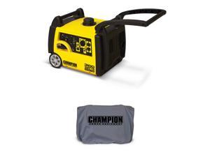 Champion 3100 Watt Quite Gasoline Inverter Generator + Generator Cover, Gray