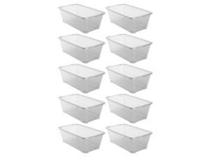 Life Story 6 Quart Clear Shoe Storage Box Stacking Container Bin w/ Lids,10 Pack