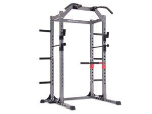 Body Flex Sports Body Power Deluxe Rack Cage Home Workout Station w/ Floor Mount