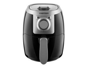 chefman turbofry 2 liter air personal compact healthy fryer w/adjustable temperature control, 30 minute timer and dishwasher safe basket black