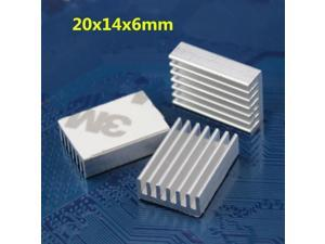 Golden 8pcs 20mm 20x14x6mm Tape Aluminum Cooling Heatsink For Memory Chipset IC