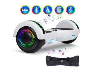"Felimoda Plating Dazzle Hoverboard Two-Wheel Self Balancing Scooter 6.5""  with Bluetooth Speaker and LED Lights Electric Scooter for Adult Kids Gift UL 2272 Certified (White)"
