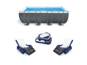 Intex 18ft x 9ft x 52in Above Ground Pool Set with Loungers (2 Pack) & Cooler