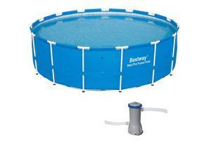 Bestway 15ft x 48in Steel Pro Frame Above Ground Pool w/Cartridge Filter Pump