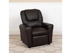 Contemporary Brown LeatherSoft Kids Recliner with Cup Holder and Headrest