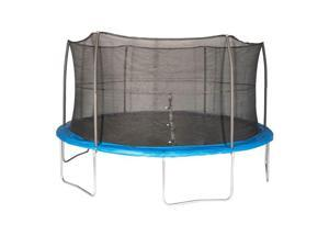 JumpKing JK15VC2 15 Foot Outdoor Trampoline & Safety Net Enclosure Kit, Blue