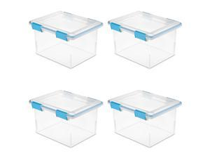Sterilite 32 Quart Clear Plastic Stacking Storage Container Box (4 Pack)