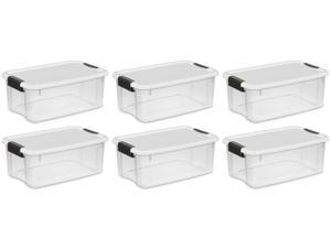 Sterilite 18 Qt Clear View Durable Stacking Storage Container Box w/ Lid, 6 Pack
