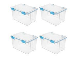 Sterilite 19344304 54 Quart Latched Gasket Plastic Storage Container (4 Pack)