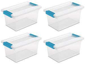 Sterilite Medium Clip Box Stackable Clear Storage Container Secure Lid (4 pack)