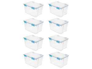 Sterilite 54 Quart Gasket Box in Clear with Blue Latches, 8 Pack | 19344304