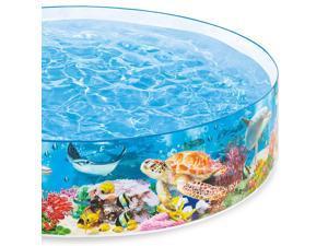 Intex 8ft x 18in SnapSet Kiddie 8 x 8 Foot Instant Swimming Pool, Deep Sea Blue