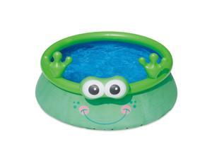 Summer Waves 6ft x 20in Inflatable Frog Character Quick Set Swimming Pool, Green