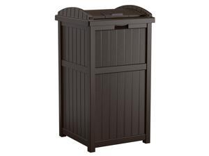 Suncast Trash Hideaway 33 Gallon Outdoor Garbage Trash Bin, Java