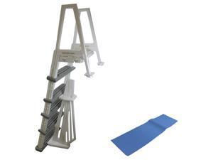 "CONFER 6000X Heavy Duty Aboveground In-Pool Swimming Pool Ladder 48""-54"" w/ Mat"