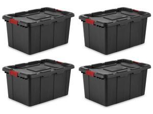 Sterilite 27-Gallon Durable Industrial Storage Tote, Black (4 Pack) 14669004