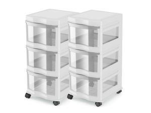 Life Story Classic 3 Shelf Storage Organizer Plastic Drawers, White (2 Pack)