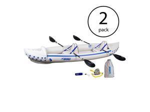 Sea Eagle 370 Pro 3 Person Inflatable Kayak Fishing Boat Canoe Paddles (2 Pack)