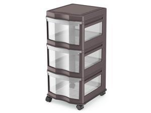 Life Story Classic 3 Shelf Standing Plastic Organizer and Drawers, Gray