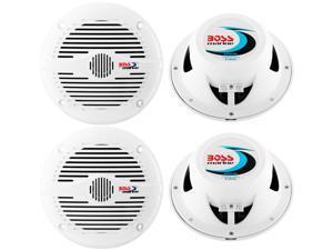 "4) NEW BOSS MR50W 5.25"" 2-Way 300W Marine/Boat Coaxial Audio Speakers - White"
