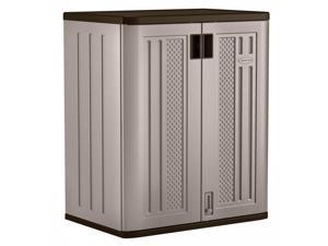 Suncast BMC3600 9 Cu Ft Heavy Duty Resin Garage Base Storage Cabinet, Platinum (2 Pack)