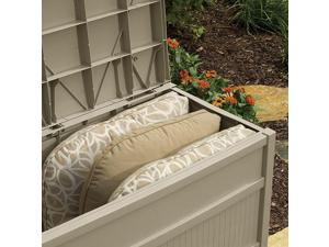 Suncast 50 Gallon Stay Dry Resin Outdoor Deck Storage Box w/ Seat,Taupe (2 Pack)