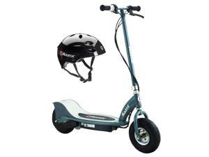 Razor E300 Electric 24V Motorized Scooter (Grey) & Youth Sport Helmet (Black)