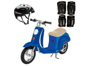 Razor Pocket Mod Electric Scooter + Youth Helmet + Elbow & Knee Pad Safety Set