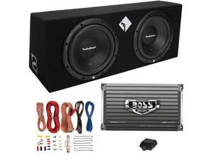 "Rockford Fosgate R1-2X10 10"" 800W Loaded Subwoofer Sub Enclosure+ Boss Amp+ Kit"