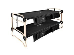 Disc-O-Bed Cam-O-Bunk Benchable Bunked Double Cot w/ Organizer, Black