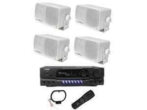 """PYLE PLMR24 3.5"""" 200W Outdoor Speakers 4pk & PT260A 200W Stereo Theater Receiver"""