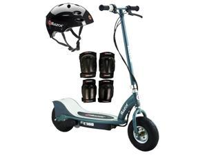 Razor E300 Electric 24V Motorized Scooter (Grey) w/ Helmet, Elbow and Knee Pads