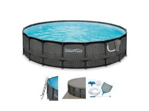 Summer Waves Elite 20ft x 48in Above Ground Frame Swimming Pool Set with Pump