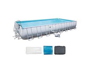 Bestway 56625E Power Steel 31ft x 16ft x 52in Rectangular Above Ground Pool Set