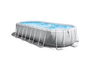 Intex 20ft x 10ft x 48in Prism Frame Oval Swimming Pool Set Ladder, Cover, Pump