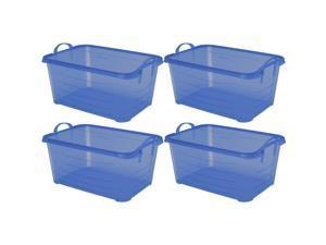 Life Story Blue Closet Organization & Storage Box Container, 55 Quart (4 Pack)