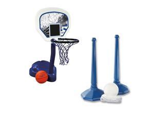 SwimWays Poolside Basketball Hoop with Ball and Volleyball Water Sport Game Set