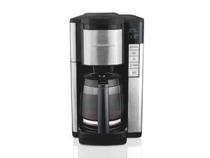 Hamilton Beach 46381 Black Programmble Coffee Maker, 12-Cup Carafe with Easy Refilling Access, Black