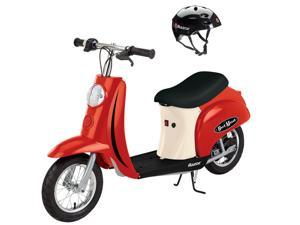 Razor Pocket Mod Mini Euro 24V 250W Electric Kids Retro Scooter with Helmet, Red