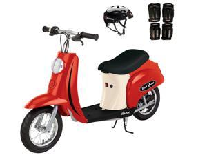Razor Pocket Mod Euro 250W Electric Kids Scooter w/ Helmet & Safety Pads, Red